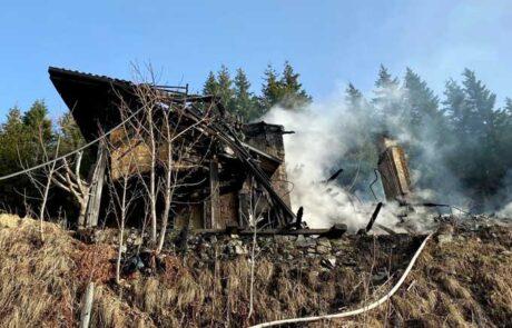 Mozirska koča na Golteh - posledice požara 24. 2. 2021