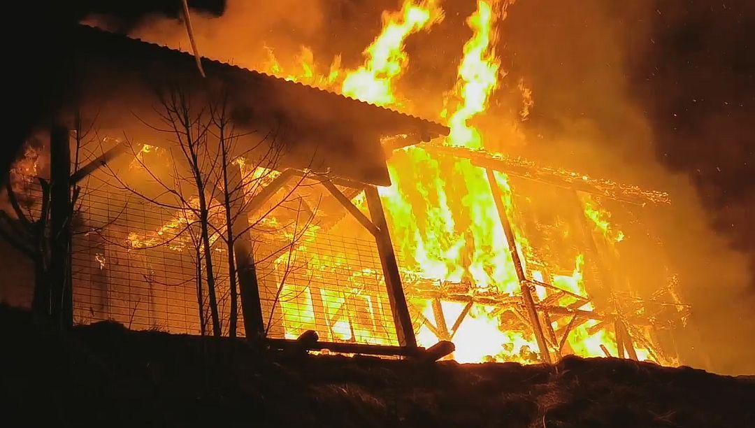 Mozirska koča na Golteh - požar 24. 2. 2021